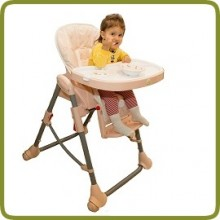 High Chair Up and Down pink incl. double tray - Highchairs and baby chairs, Promo