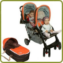 Exclusive Tandem - Twin Pram orange- - Prams and Pushchairs