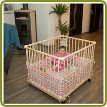 Playpen rectangular + insert white/pink - Playpens and Walkers