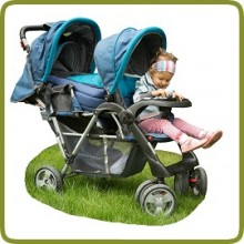 Exclusive Tandem - Twin Pram turqoise - - Prams and Pushchairs