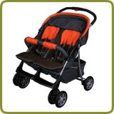 Deluxe Tandem - Twin Pram orange - - Prams and Pushchairs