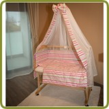 Bed side cot all inclusive 90x40cm, pink stripes - Beds