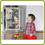 Bambino World safety gate Nora 76-81cm, wood + polycarbonate + metal, grey (ext to 132cm)  - Safety Gates and Playpens