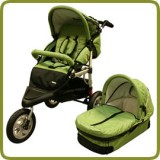 3 wheeler pram + carry cot light green - Prams and Pushchairs