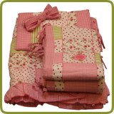 Bedlinen set seven-part for bed side cot, pink - Beds