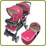 Exclusive Tandem - Twin Pram scarlet - - Prams and Pushchairs