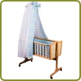 Cradle incl. bedlinen set white/blue - Cradles and Bouncers