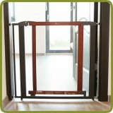 Safety gate Nora 72,5-81cm, wood + polycarbonate + metal, brown (ext to 88 cm) + extension 7cm inlcluded - Safety Gates and Playpens