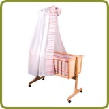 Cradle incl. bedlinen set white/pink - Cradles and Bouncers