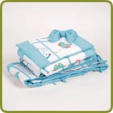 Bedlinen set turquoise seven-part for bed side cot - Beds, Promo