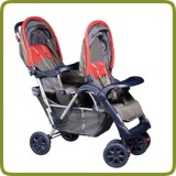 Exclusive Tandem - Twin Pram red - - Prams and Pushchairs