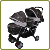 Exclusive Tandem - Twin Pram brown - - Prams and Pushchairs, Promo
