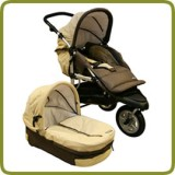 3 wheeler pram + carry cot brown - Prams and Pushchairs