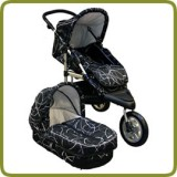 3 wheeler pram + carry cot black - Prams and Pushchairs