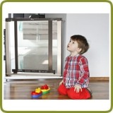 Safety gate Nora 72,5-81cm, wood + polycarbonate + metal, grey (ext to 88 cm) + extension 7cm inlcluded - Safety Gates and Playpens