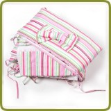Bedlinen set seven-part for bed side cot, white/pink - Beds