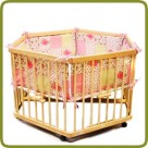 Playpen hexagonal + insert pink - Playpens and Walkers